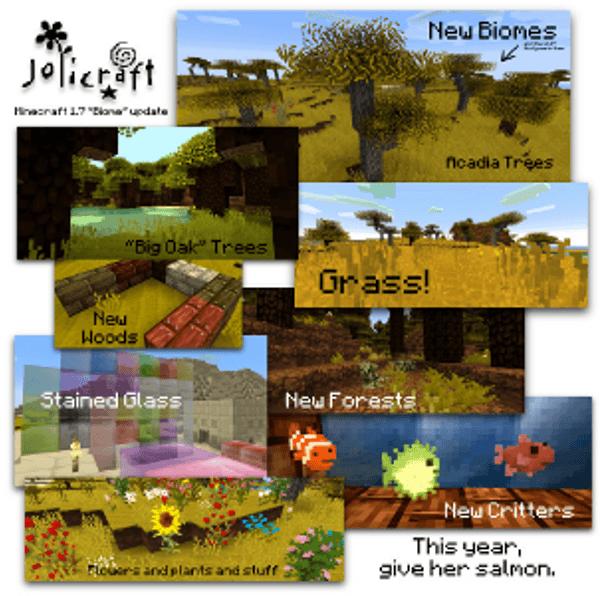 Jolicraft - les ajouts de la 1.7.2 : les nouveaux biomes, poissons, blocs et arbres.