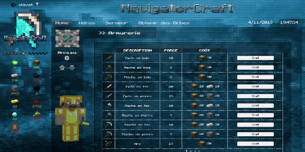 NavigatorCraft - L'interface de l'Armurerie