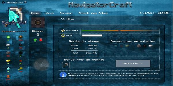 NavigatorCraft - Lorque vous partez miner, vous aurez plusieurs paramètres à définir.