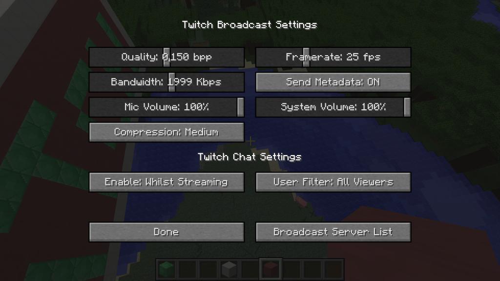Voilà donc ce que contient le bouton Broadcast Settings.