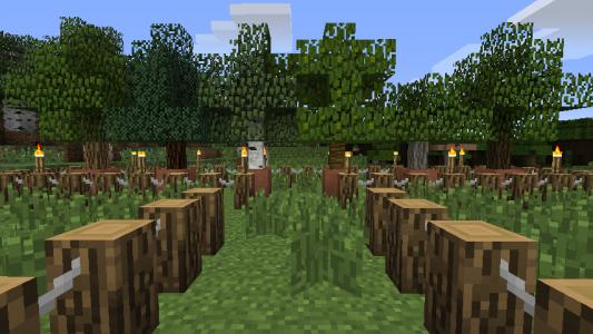 Un beau jardin avec les barrières du mod.