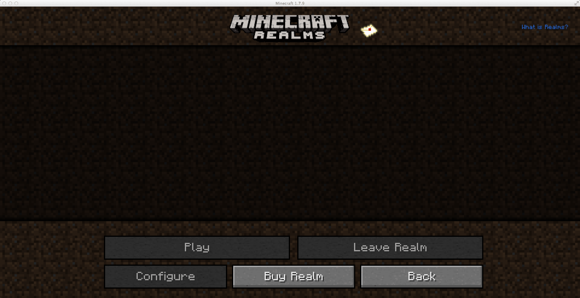 Minecraft Realms - Menu principal