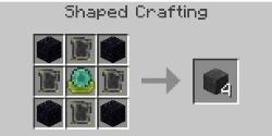 Blood Magic - Craft de la Ritual Stone : Une Apprentice BloodOrb au centre, 4 Reinforced Plates à gauche, à droite, en haut et en bas et 4 obsidiennes dans les coins. Vous recevrez 4 Ritual Stones.