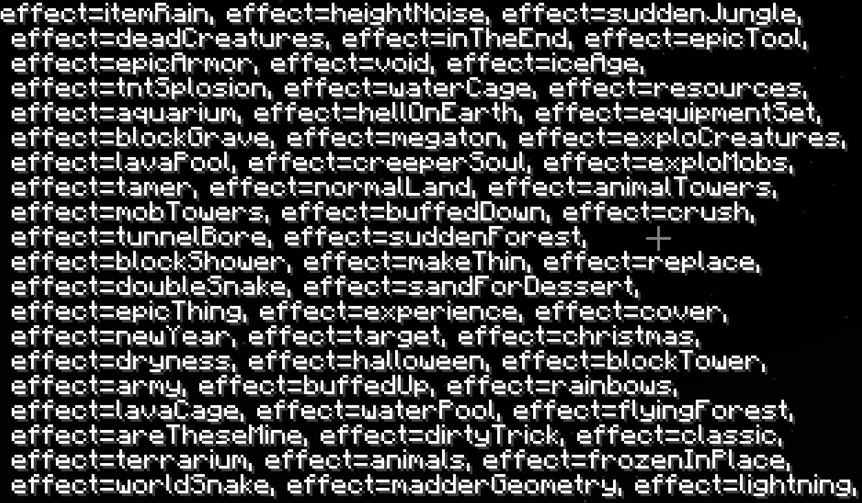 Mini mod - Pandora's Box - Liste des effets.