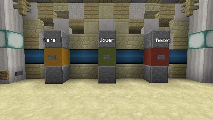"""Le menu du jeu. Plutôt simple : """"Maps"""" pour changer de niveaux, """"Jouer"""" pour jouer, et """"Reset"""" pour recommencer un niveau."""