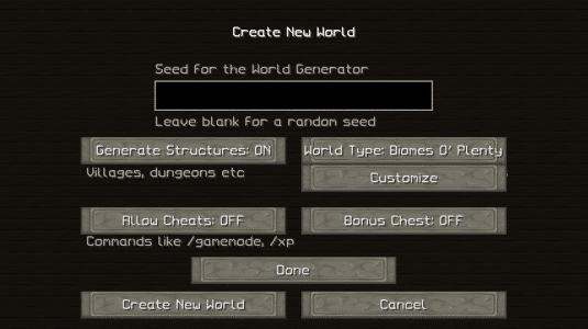 Selection du World Type : Biome O' Plenty