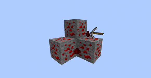 minerai redstone + pioche + redstone poudre