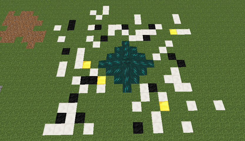 Voici ce que j'ai obtenu après m'être lancé 100x dans le Resonant Ender. Les blocs de quartz montrent là où je ne suis tombé qu'1 seule fois, les blocs de charbon 2x et les blocs d'or 3x