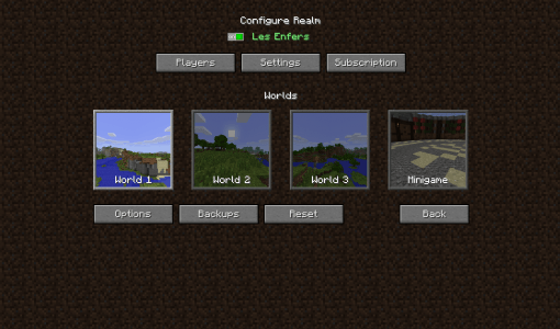 Minecraft Realms - Menu Realms