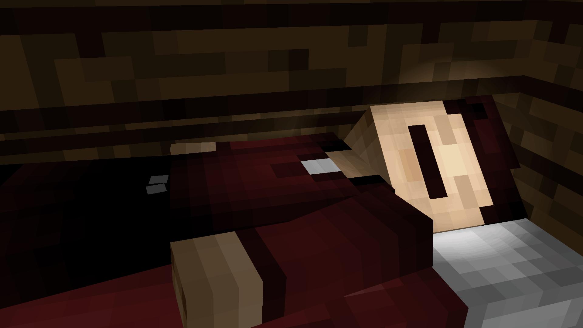 Un minecraftien dans son lit en fond d'écran