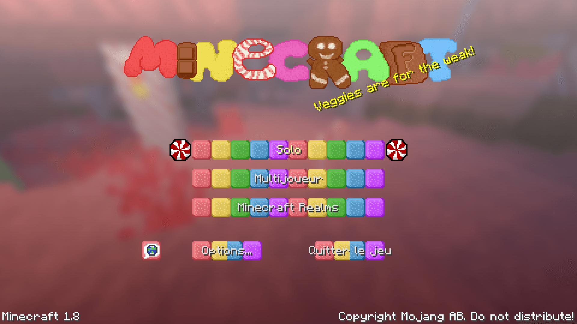L'accueil de Minecraft avec Sugar pack