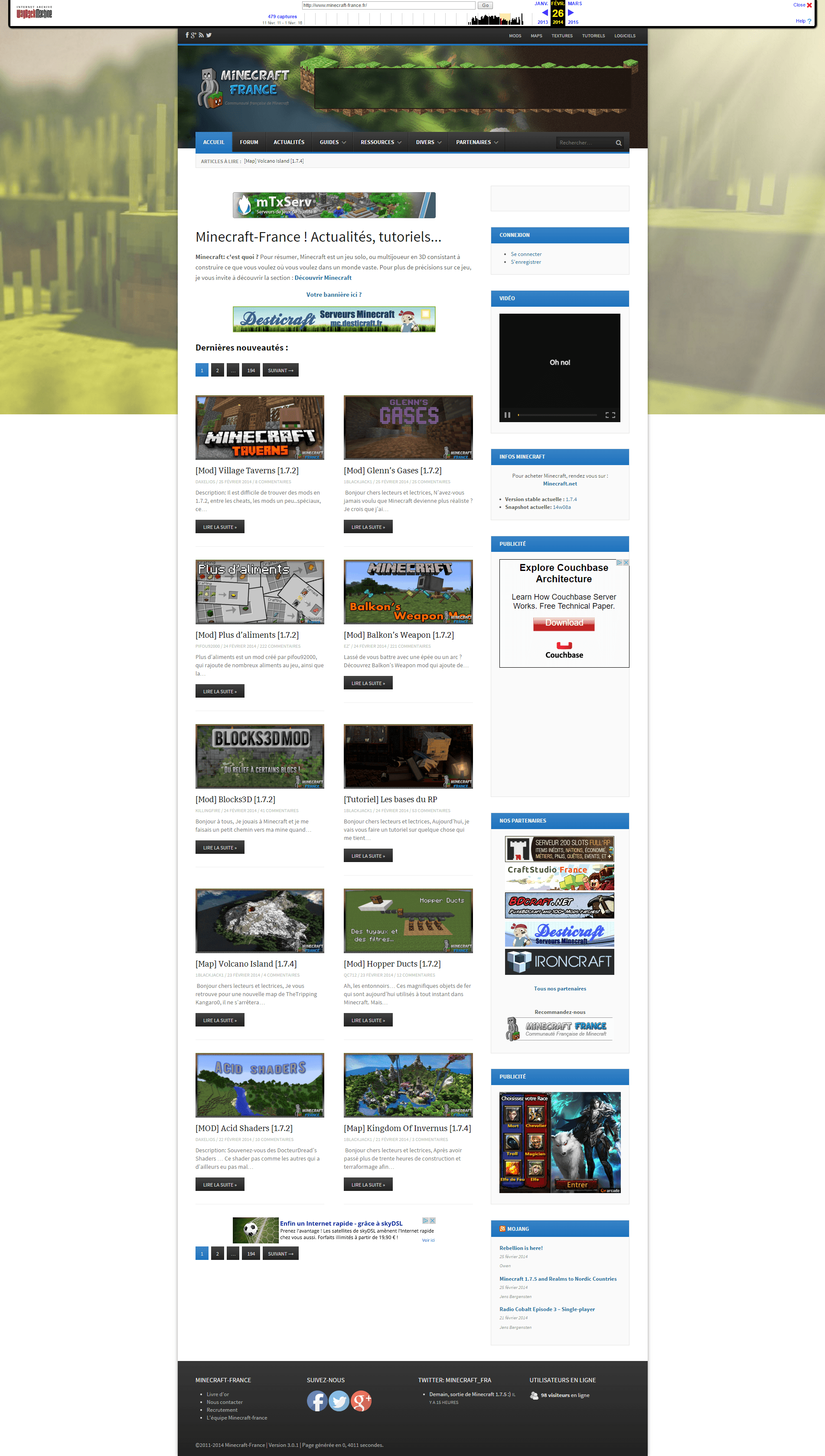 Minecraft France Actualité Tutoriels Mod Maps...