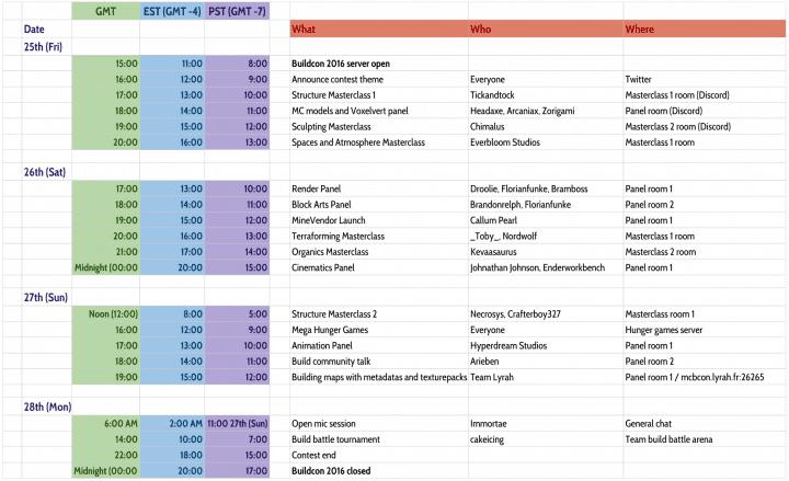 MCBuilders Con - Schedule