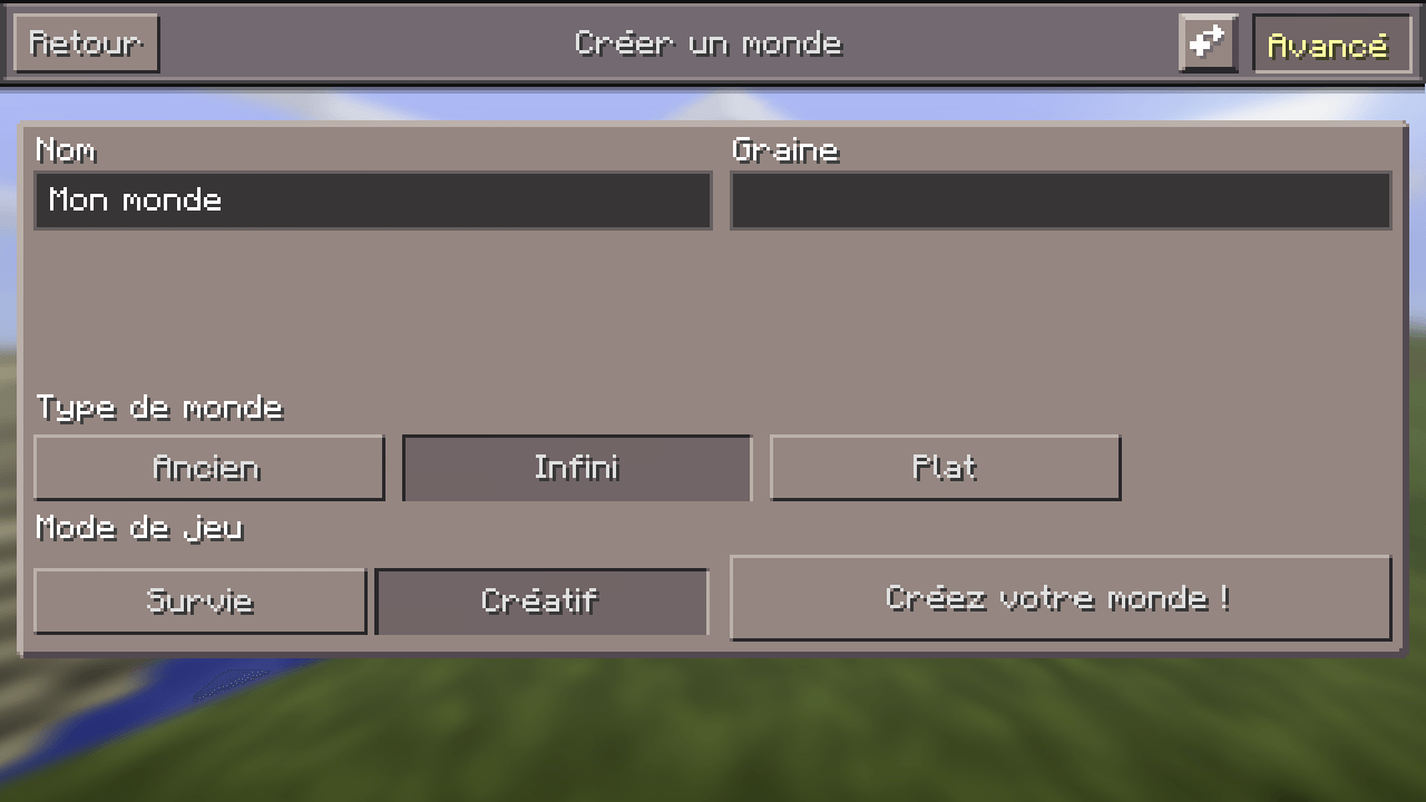 changer la seed du monde Minecraft sous la version pocket edition