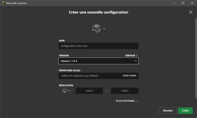 Création d'un nouveau profil avec Minecraft 1.14.4