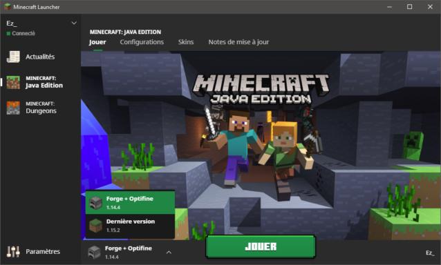 Sélection du profil Minecraft 1.14.4