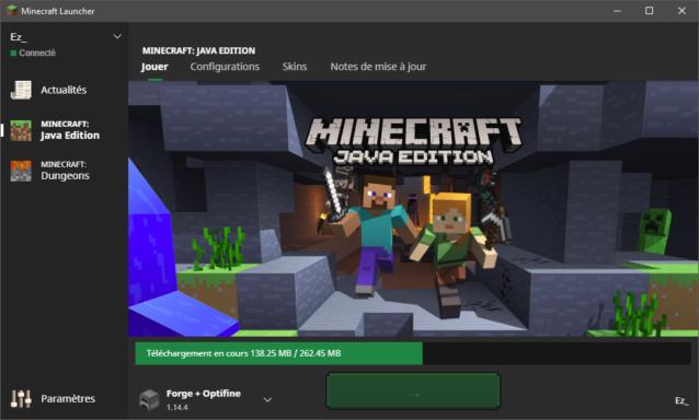 Téléchargement des derniers fichiers pour Minecraft 1.14.4