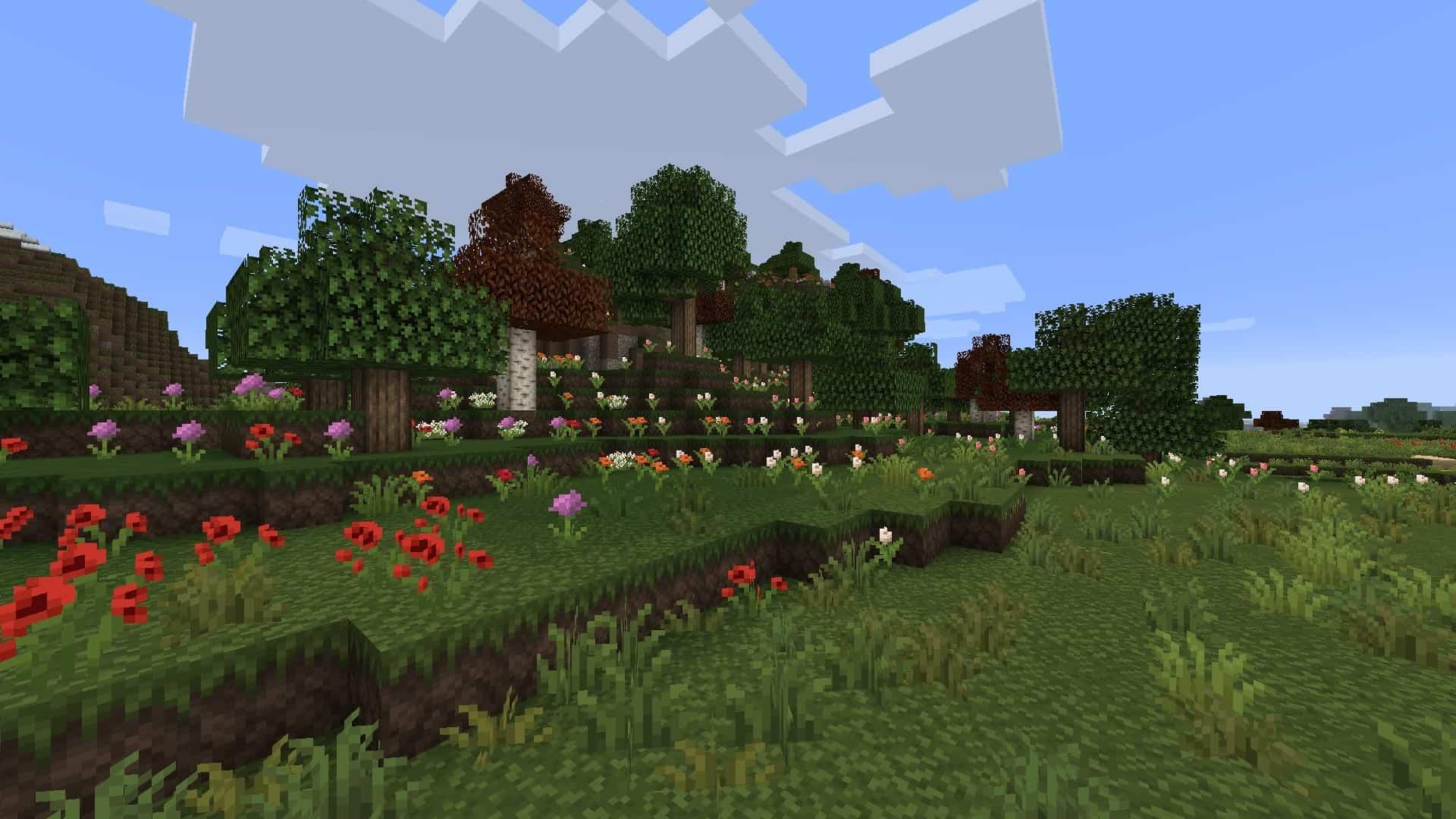 champs de fleur avec le resource pack Excalibur