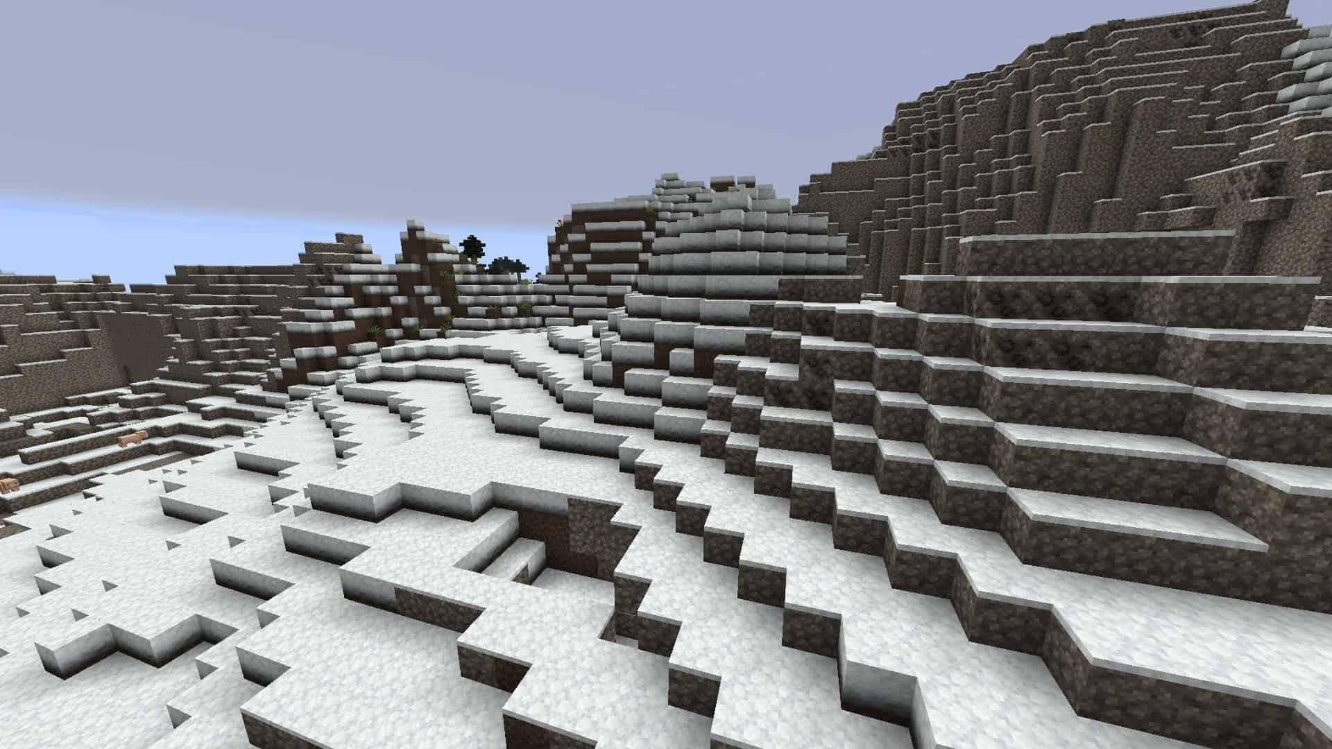 montagnes enneigées avec le resource pack Excalibur