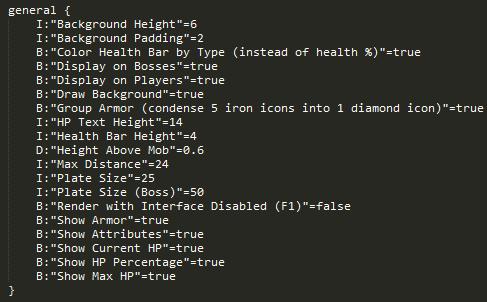 Fichier de configuration du mod Neat