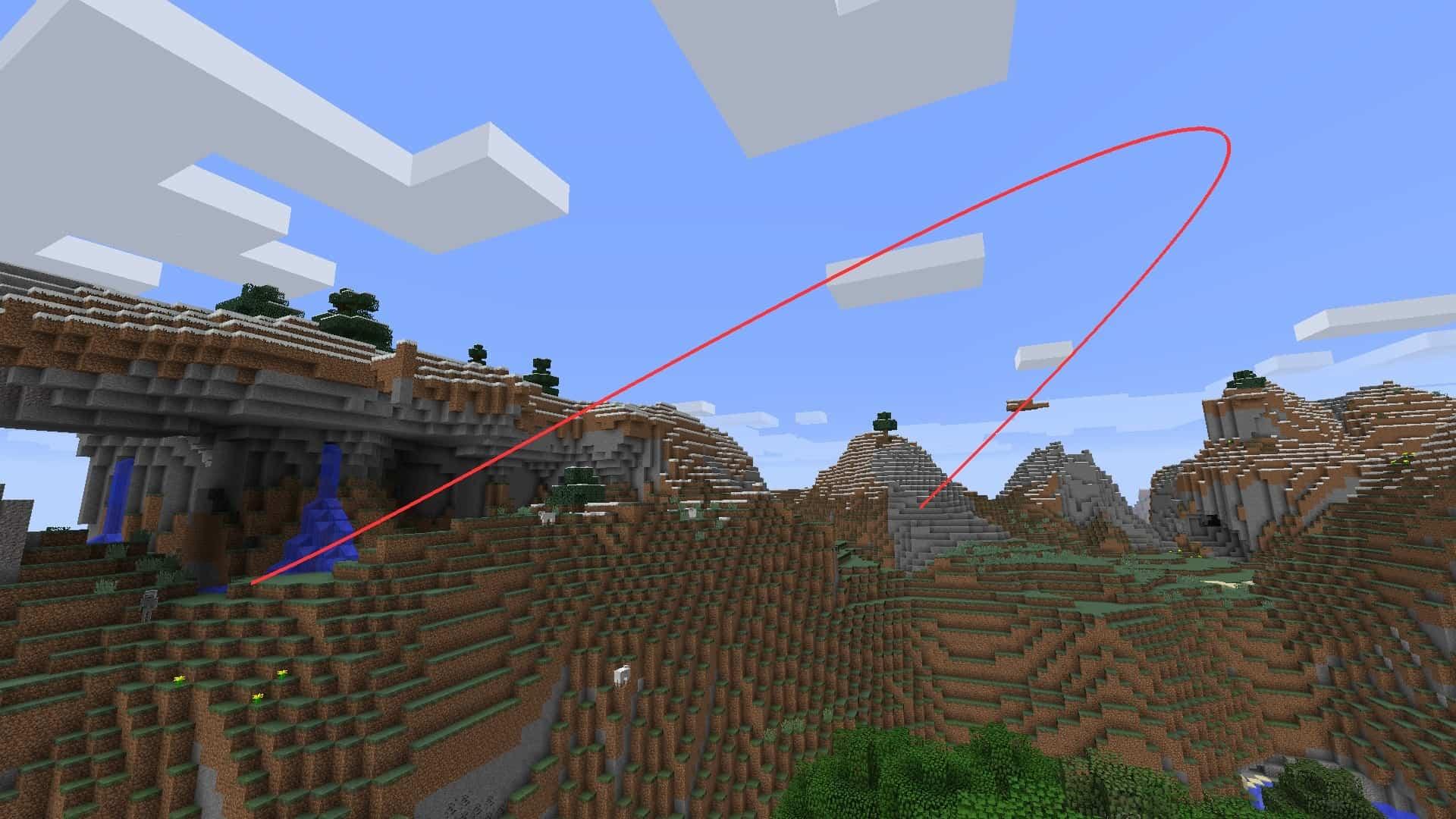 trajet de la caméra et du travelling avec le mod Minecraft BauerCam