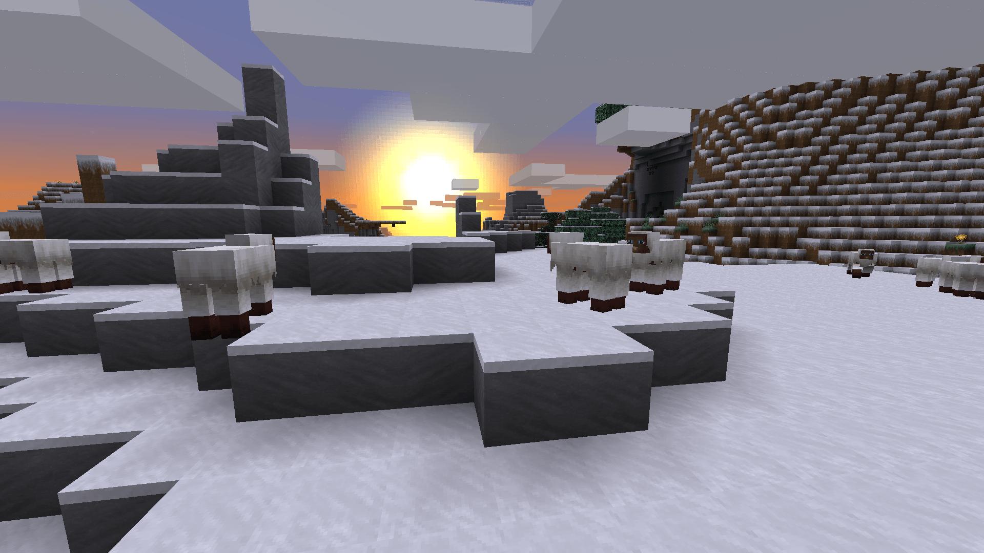 les moutons et la neige de Minecraft avec le resource pack The Galaxy Pack