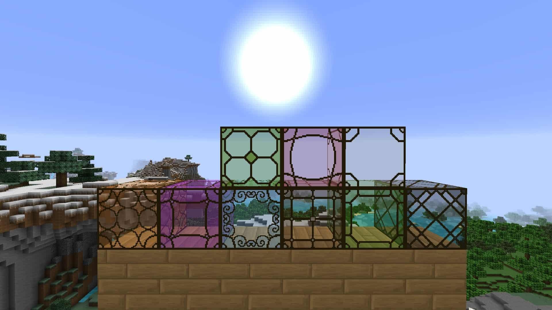les vitres et le soleil de Minecraft avec le resource pack The Galaxy Pack