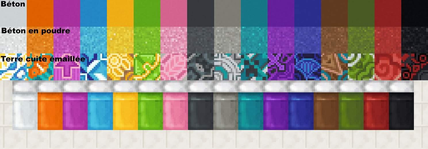 Béton, béton en poudre et terre cuite émaillée de la version 1.12 de Minecraft