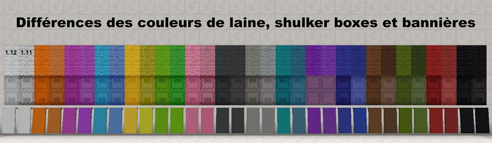Nouvelle palette de couleurs de la version 1.12 de Minecraft