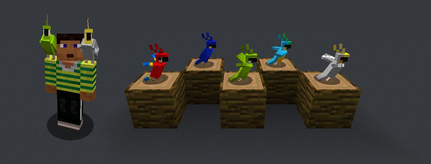 Perroquets de la version 1.12 de Minecraft