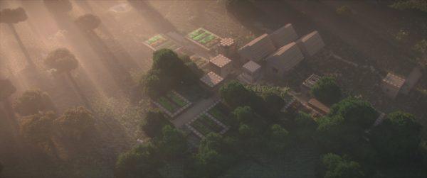 Un village avec des rayons de soleil