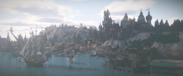 Une grande ville au bord de la mer