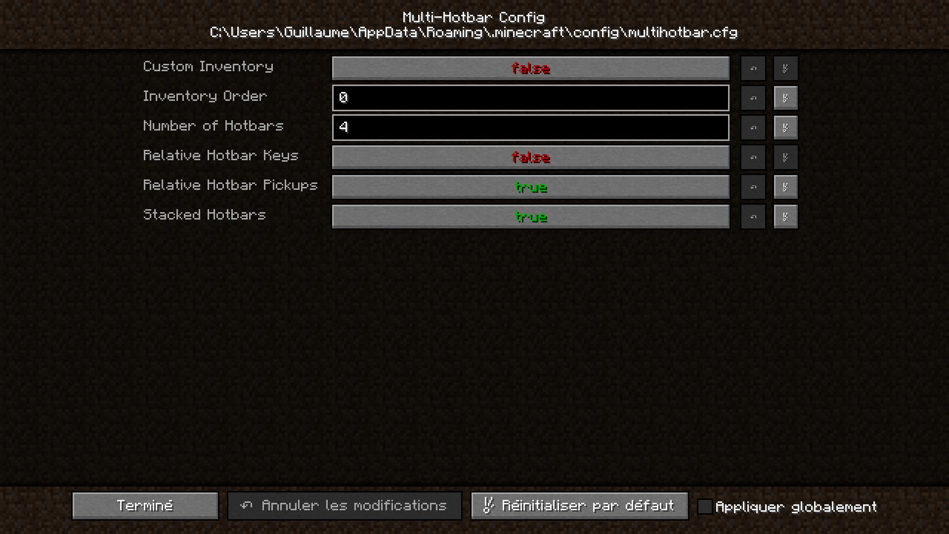 menu des paramètres du mod Multi-Hotbar