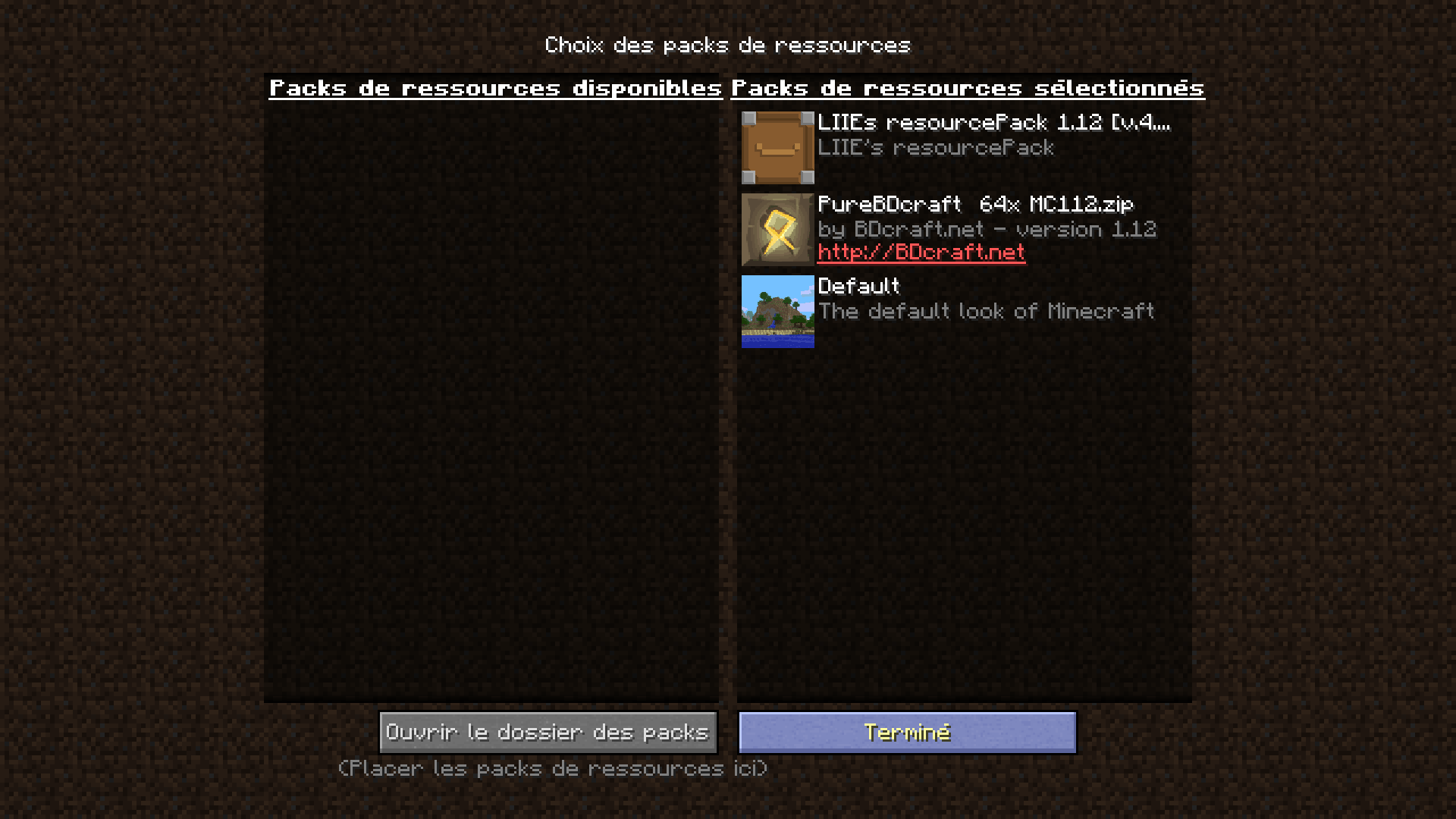 menu pour empiler les resource packs