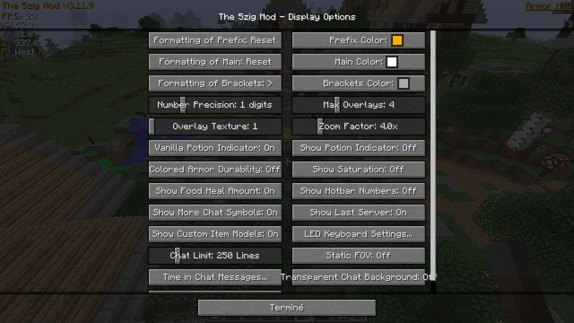 how to change setting in the 5zig mod