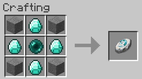 Une pierre, un diamant, une pierre, un diamant, une perle de l'end, un diamant, une pierre, un diamant et une pierre