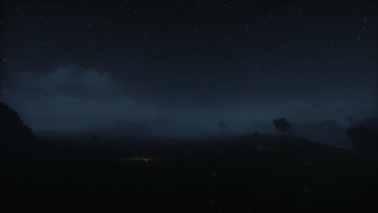 La nuit dans Minecraft sous le brouillard