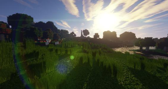 Levé de soleil dans Minecraft avec Beyond Belief Shaders