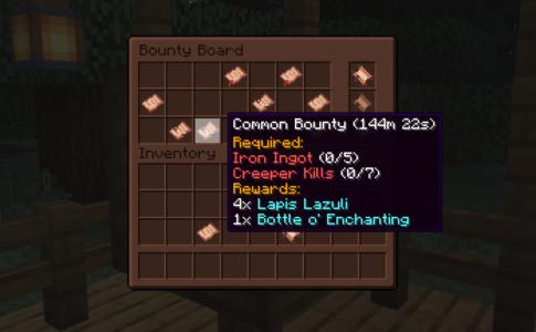 Interface du Bounty Board avec les primes