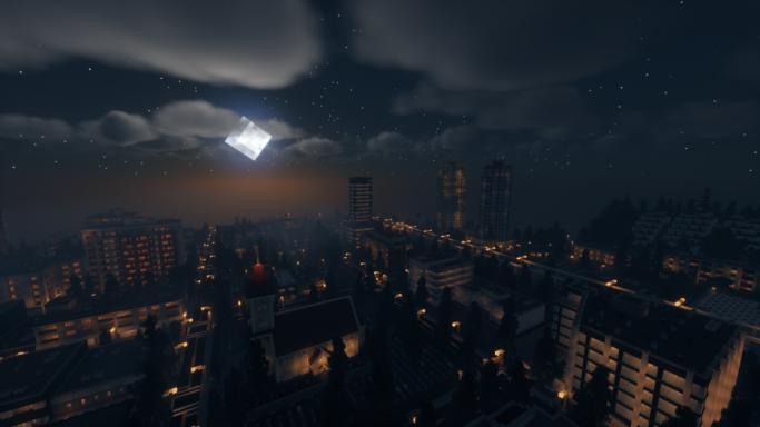 Une ville moderne en pleine nuit