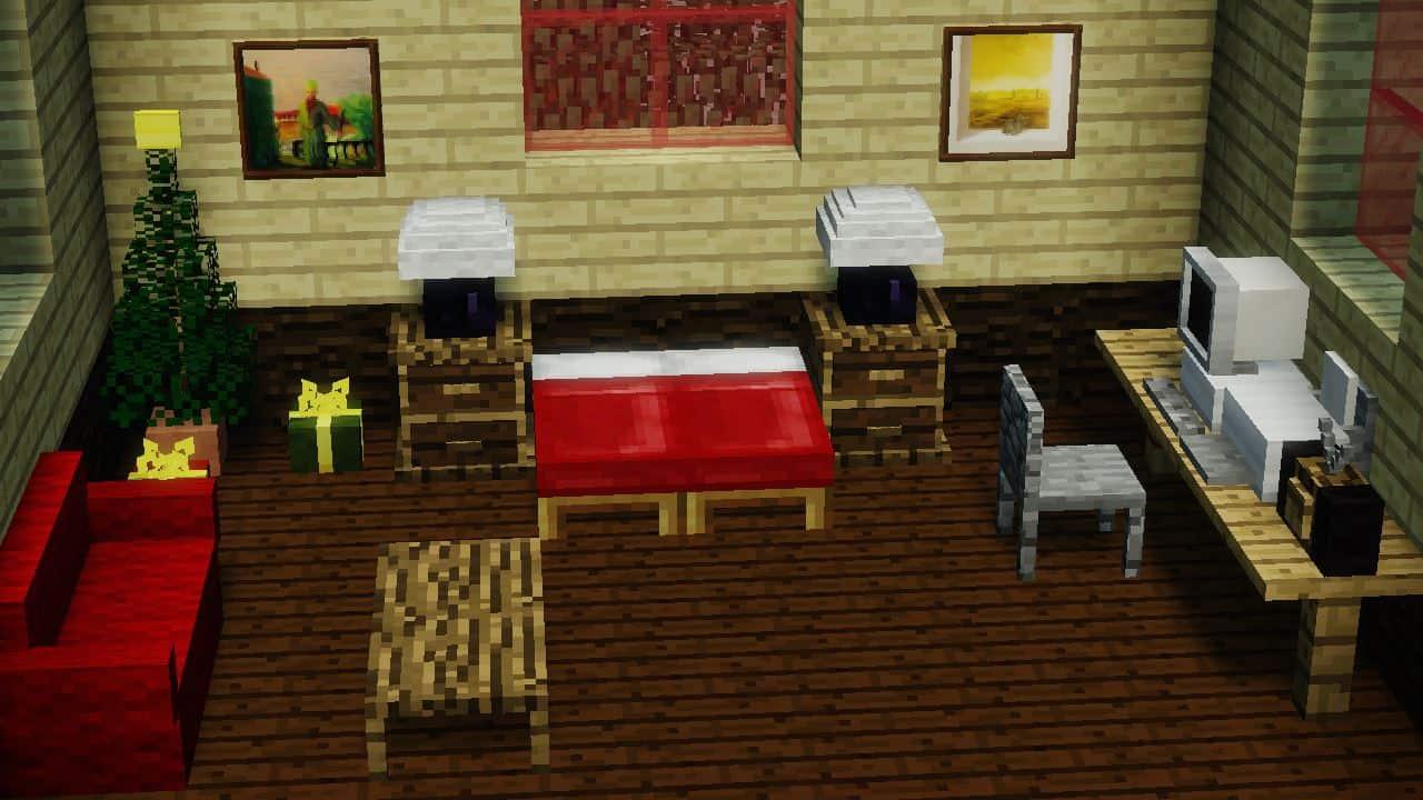 MrCrayfish's Furniture Mod - Un salon avec un bureau et un ordinateur