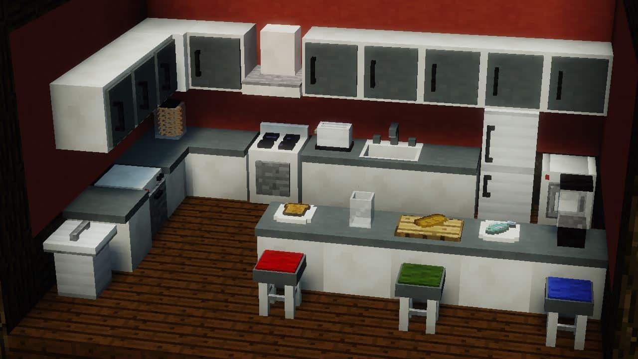 MrCrayfish's Furniture Mod - Une cuisine intérieur dans Minecraft