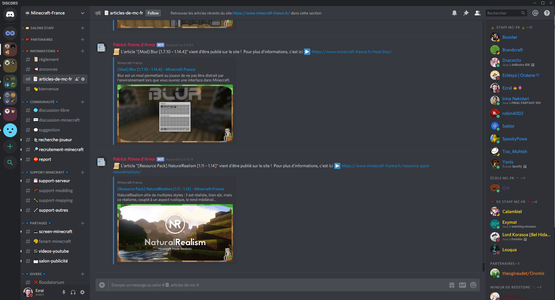 Interface du Discord de Minecraft-France