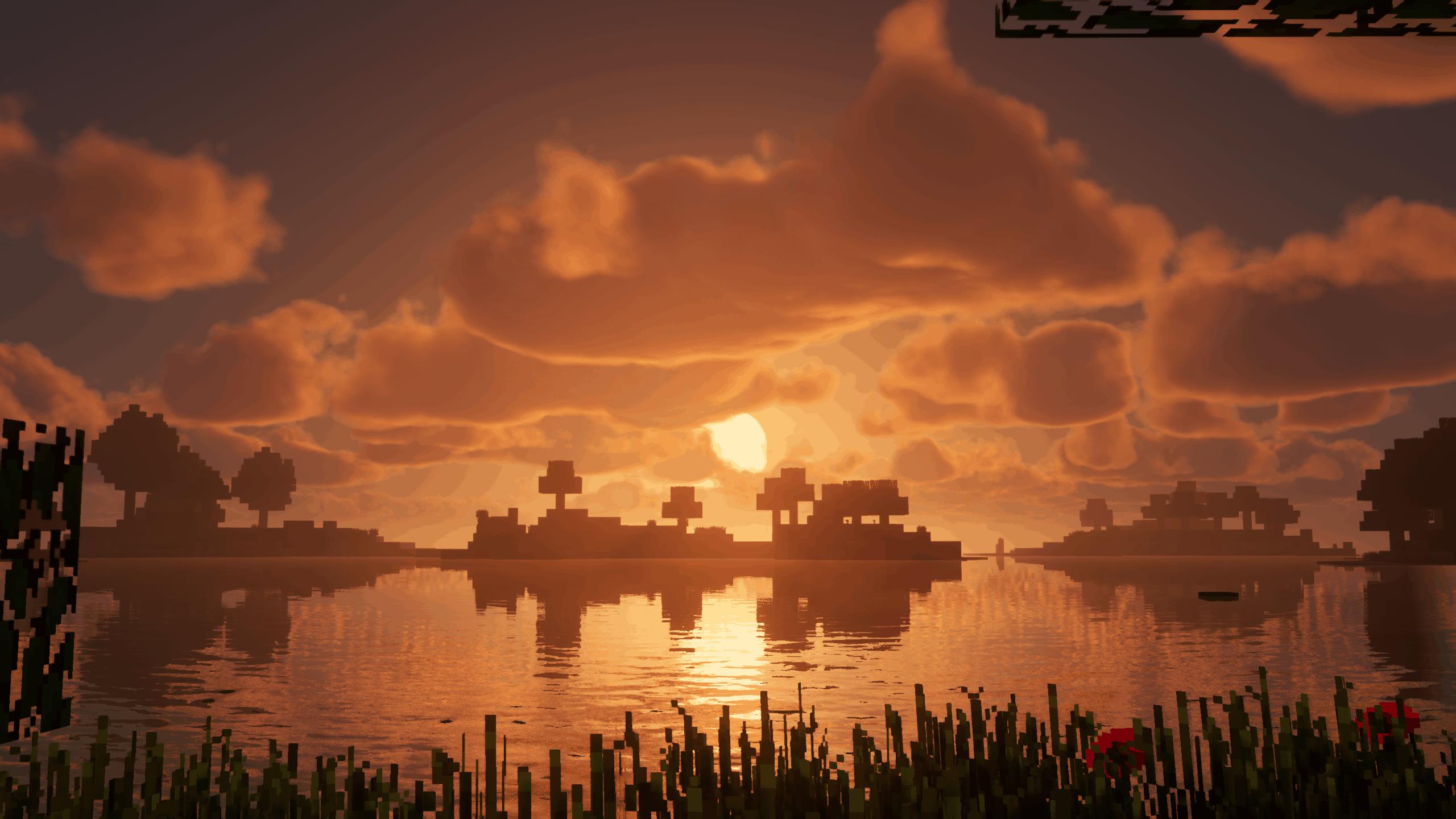 Coucher de soleil dans Minecraft