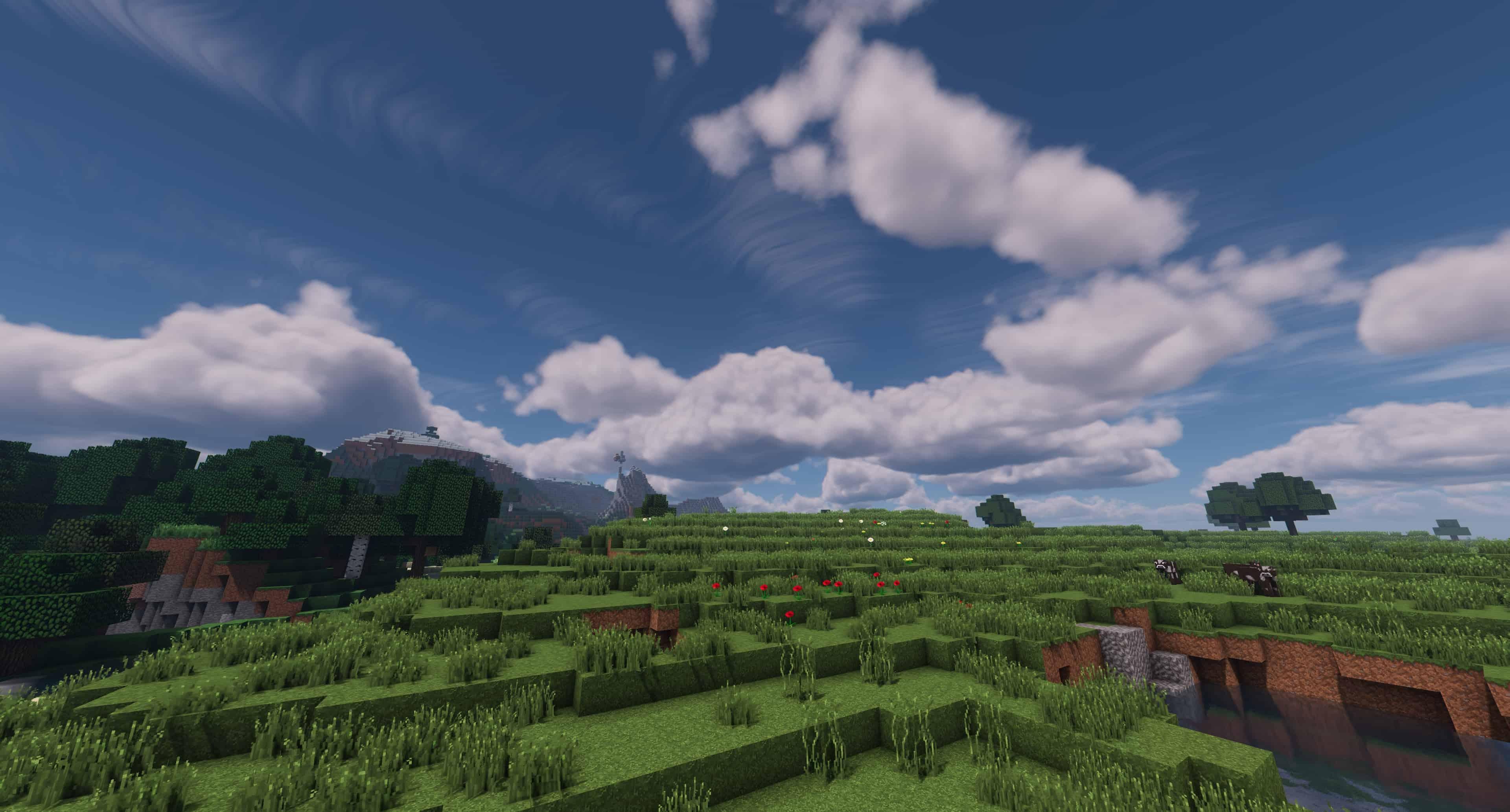 Une plaine dans Minecraft avec Kappa Shader