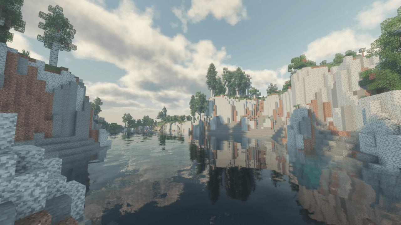 Rivière avec des falaises dans Minecraft - Shader Voyager