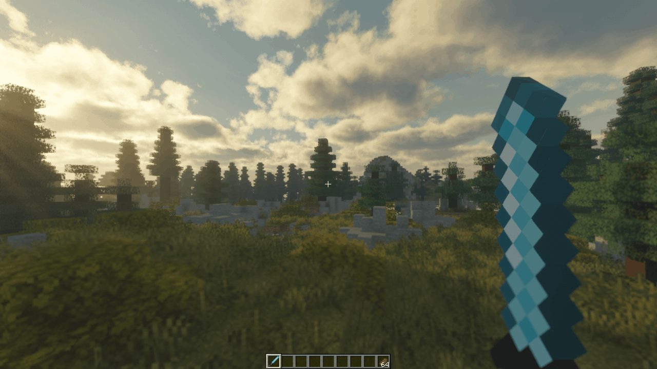 Paysage Minecraft avec le shader Voyagers