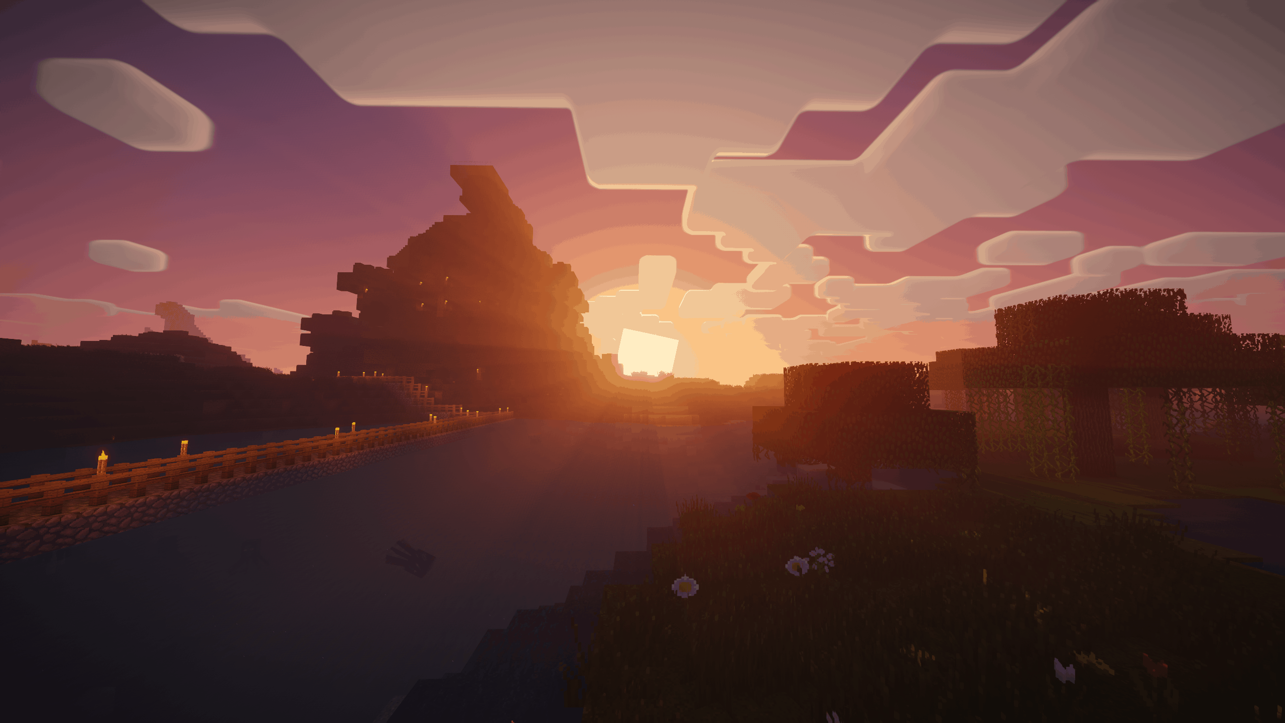 Un lever de soleil avec le shader Nostalgia
