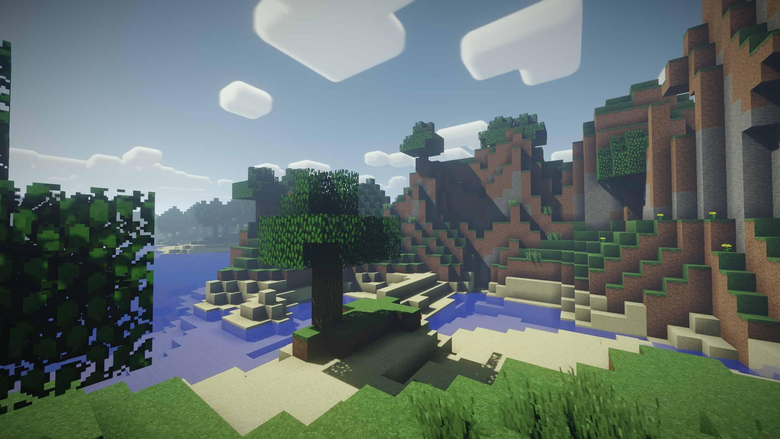 Un paysage classique de Minecraft avec le shader Nostalgia