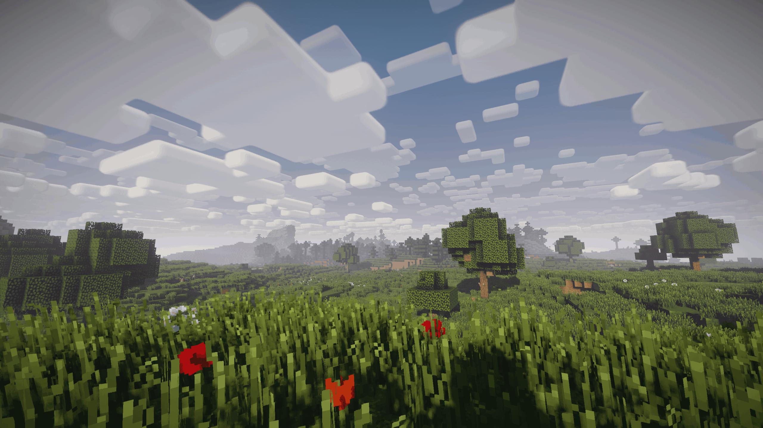 Nostalgia Shader - Une plaine dans Minecraft